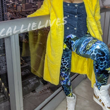 Load image into Gallery viewer, Callie Velour: Blue Green Cheetah Floral Leggings