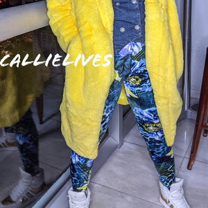 Callie Velour: Blue Green Cheetah Floral Leggings, Leggings & Joggers, CallieLives