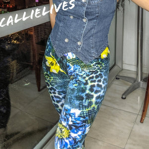 Callie Velour: Blue Green Cheetah Floral Leggings