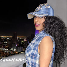 Load image into Gallery viewer, Callie DOPE: Denim Sparkly Rhinestone Bling Hat, Hats, High Heels & Hand Bags, CallieLives