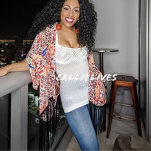 Load image into Gallery viewer, Callie Kimono Floral Fringe Cheetah Print Cardigan