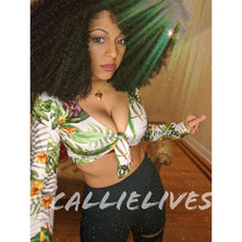Load image into Gallery viewer, Stasia Stretchy: Safari Green Leaf Custom Crop Top, Tops, CallieLives