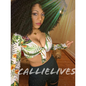 Stasia Stretchy: Safari Green Leaf Custom Crop Top, Tops, CallieLives