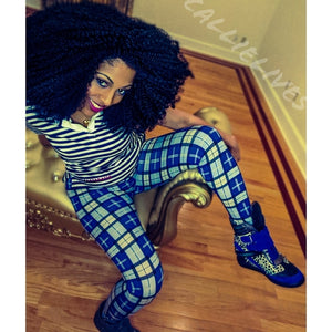 Stasia Blue Check: Verified Plaid Printed Leggings, Leggings & Joggers, CallieLives