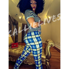 Load image into Gallery viewer, Stasia Blue Check: Verified Plaid Printed Leggings, Leggings & Joggers, CallieLives