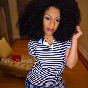 Miz Striped Identaholic: Navy Polo Button Up Top, Tops, CallieLives