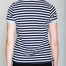 Load image into Gallery viewer, Miz Striped Identaholic: Navy Polo Button Up Top, Tops, CallieLives