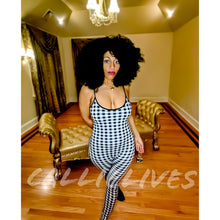 Load image into Gallery viewer, Callie Gingham: Skinny Strap Black Check Catsuit