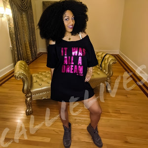 Miz Biggie: Magenta Dream Custom Cut T-Shirt Dress
