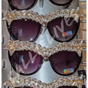 Miz Superstar: Rhinestone Black Frame Sunglasses