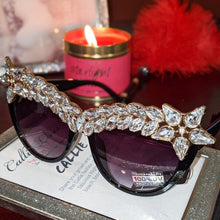 Load image into Gallery viewer, Miz Superstar: Rhinestone Black Frame Sunglasses