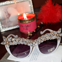 Load image into Gallery viewer, Miz Superstar: Rhinestone White Frame Sunglasses