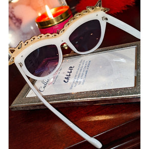 Miz Superstar: Rhinestone White Frame Sunglasses, Accessories, CallieLives