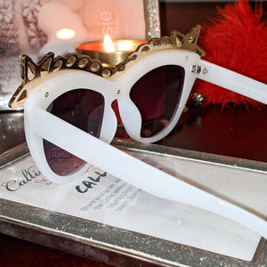 Miz Superstar: Rhinestone White Frame Sunglasses