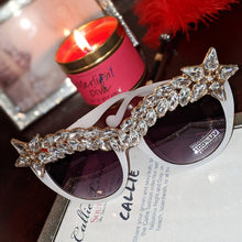 Load image into Gallery viewer, Miz Superstar: Rhinestone White Frame Sunglasses, Accessories, CallieLives