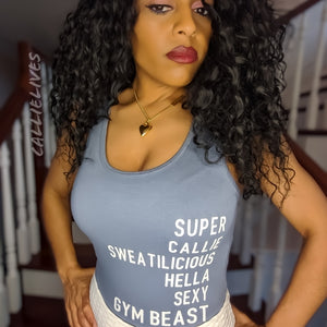 Miz Gym Beast: Blue Workout Super Sexy Leotard