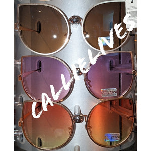Callie Cateye Oversized Blue Sunrise Ombre Sunnies