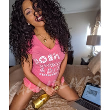Load image into Gallery viewer, Callie Posh: Prosecco - Pjs Heather Pink Vneck Top, Lingerie, CallieLives
