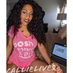 Callie Posh: Prosecco - Pjs Heather Pink Vneck Top, Lingerie, CallieLives