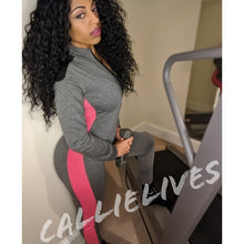 Load image into Gallery viewer, Miz Work Out: Pink Striped Gray Jumpsuit L XL