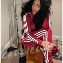 Load image into Gallery viewer, Miz Work Out: White Side striped Burgundy Jumpsuit, Active Wear, CallieLives