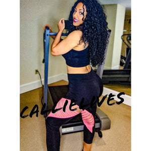 Callie Pink: Black Color Block Slashed Leggings, Leggings & Joggers, CallieLives