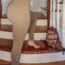 Load image into Gallery viewer, Miz Hunt & Slash: Tan Mocha Latte Slashed Leggings