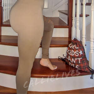 Miz Hunt & Slash: Tan Mocha Latte Slashed Leggings