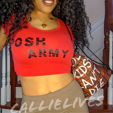 Load image into Gallery viewer, Miz Cropped: Red Posh Army Scoop Neck Crop Top