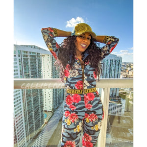 Callie Flower Rose Blue Camo Jacket Pant Set
