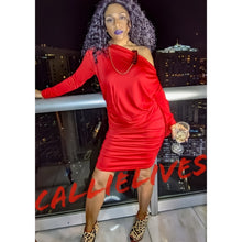 Load image into Gallery viewer, Callie Red Scrunch: Drawstring Boat Neck Dress, Dresses, CallieLives