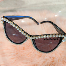 Load image into Gallery viewer, Miz SuperCat: Rhinestone Bling Black Sunglasses