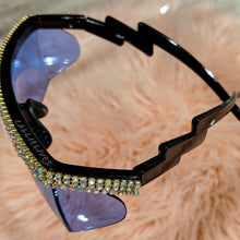 Load image into Gallery viewer, Miz Future Blue Bling Iridescent Rhinestone Shades