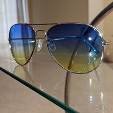 Load image into Gallery viewer, Callie Ombré Silver Aviator Frame Blue Yellow Lens, Accessories, CallieLives