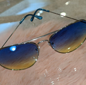 Callie Ombré Silver Aviator Frame Blue Yellow Lens, Accessories, CallieLives