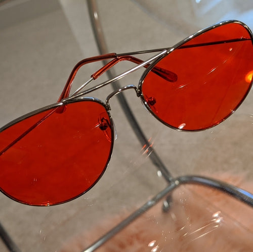 Callie Aviator: Red tinted lens Silver Sunglasses