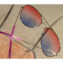 Load image into Gallery viewer, Callie Ombré Silver Aviator Frame Red Purple Blue, Accessories, CallieLives