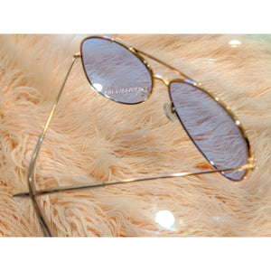 Callie Aviator: Blue tint lens Rose Golf Sunnies