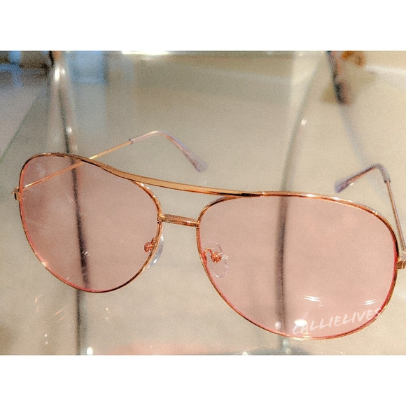 Callie Aviator Pink tint lens Rose Gold Sunglasses