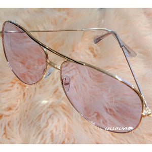 Callie Aviator: Purple tint lens Rose Golf Sunnies