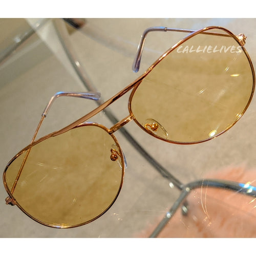 Callie Aviator: Tan tint lens Rose Gold Sunglasses