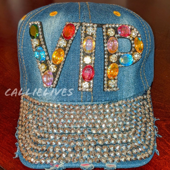 Callie VIP: Denim Sparkly Rhinestone Bling Hat