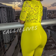 Load image into Gallery viewer, Callie Chartreuse Lace Onesie Belted Pant Jumpsuit