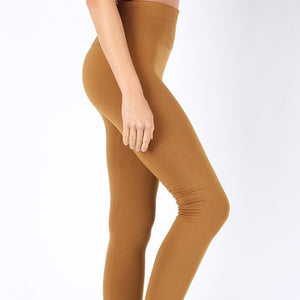 Miz Fleece TUMMY CONTROL Waist Cappuccino Leggings, Leggings & Joggers, CallieLives