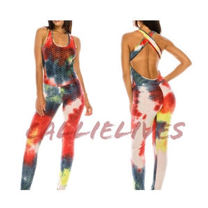 Stasia Scrunch: Red Tie Dye Bootylift Brazilian Yoga Romper Catsuit, Active Wear, CallieLives