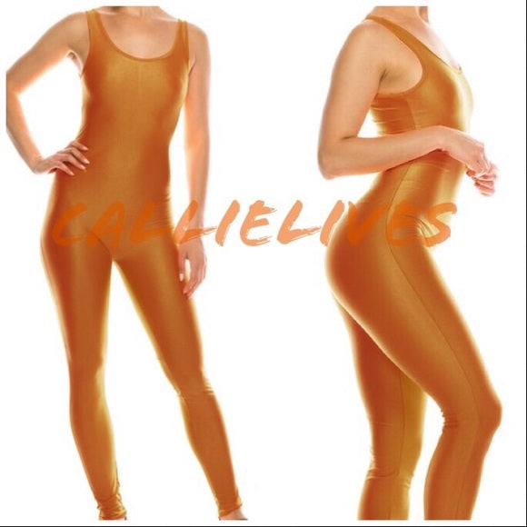 Miz Liquid: Autumn Blaze Shiny Biker Yoga Gym Jumpsuit