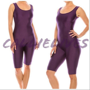 Miz Liquid: Metallic Grape Lollipop Shiny Biker Yoga Gym Romper Shorts Jumpsuit