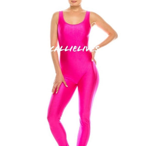 Miz Liquid: Minaj Pink Shiny Biker Yoga Gym Jumpsuit