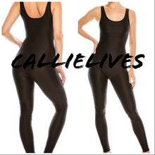 Load image into Gallery viewer, Miz Liquid: Black Shiny Biker Yoga Gym Jumpsuit Romper, Active Wear, CallieLives