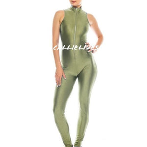 Miz Liquid: Sage Shiny Biker Zip-Up Gym Jumpsuit